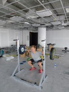 Einar tester trening i gymmet vårt in the making ;-)